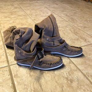 El Vaquero Suede Knee High Moccasin Boot